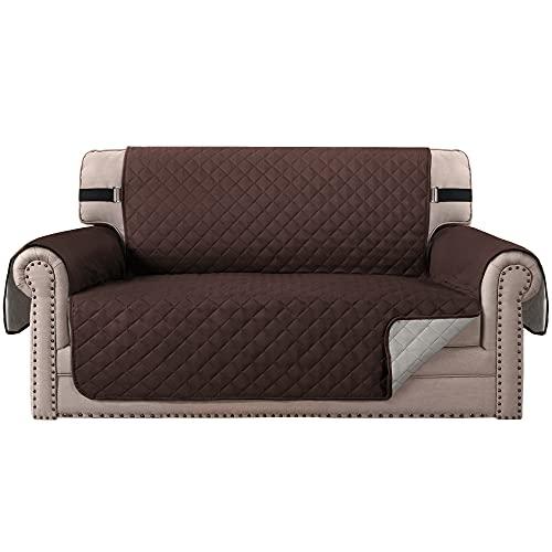 H.VERSAILTEX - Funda reversible acolchada para sillón de dos plazas, con correas elásticas antideslizantes, funda para proteger...