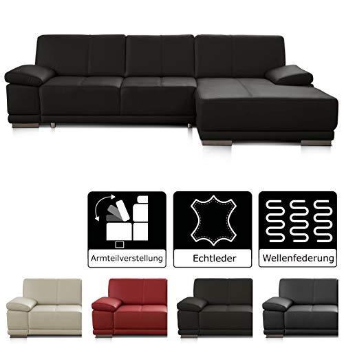 CAVADORE Ecksofa Corianne / Ledercouch in modernem Design / Inkl. beidseitiger Armteilverstellung und Longchair rechts / 282 x 80 x 162 / Echtleder dunkelbraun