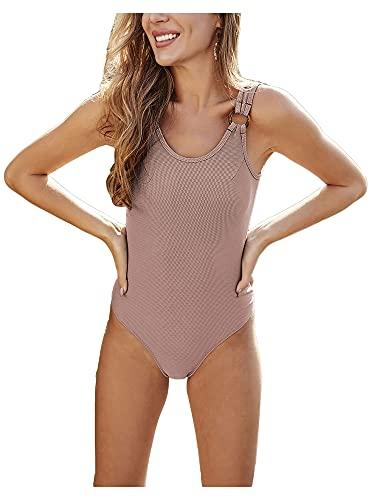 Traje de bao de una pieza sin espalda sin hombros sin mangas Bikini mameluco sexy trajes de bao ropa de playa, albaricoque, M