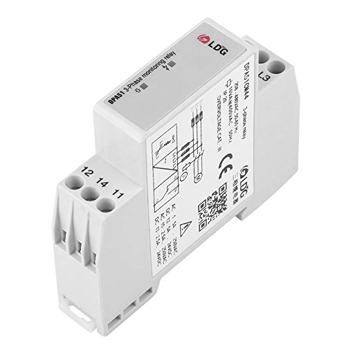 DPA51CM44 3-Phase Monitoring Relay, Current/Voltage Monitoring Relay Phase Sequence Protector for Three-Phase System, Without Neutral, Phase Loss and Incorrect Phase Sequence, 208-480VAC