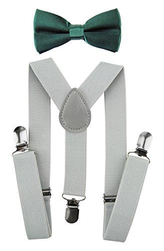 axy Kinder Lichtgraue Hosenträger-Y Form mit Fliege- 3 Clips EXTRA STARK (Lichtgraue Hosenträger + Grüne Fliege)