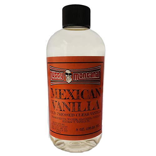 Nutty Montanan Authentic Real Pure Mexican Clear Vanilla (White) 8 Ounce Cold Pressed No Coumarin Imported