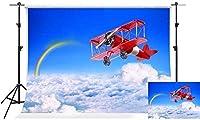 HiYash 5x3ft 飛行機の写真の背景青空レインボーキッズテーマパーティー写真の背景誕生日パーティーの装飾バナー家の装飾と美しい記憶記録ビニール素材スタジオ小道具