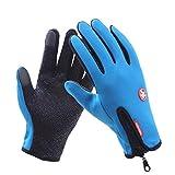 UKKD Guanti Caldi Guanti Invernali Impermeabili Uomini Sci Guanti da Snowboard Motociclo Neve Touchscreen Inverno Windstopper Glove,Azzurro,L