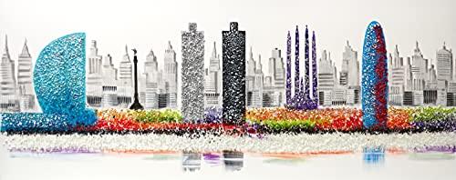 Cuadro Pintado Perfil de Barcelona 150x60 cm, Mosaico Gaudí con Piedras Brillantes, Torre Agbar, Colón, Sagrada Familia, Hotel Vela, sobre Lienzo, Listo para Colgar