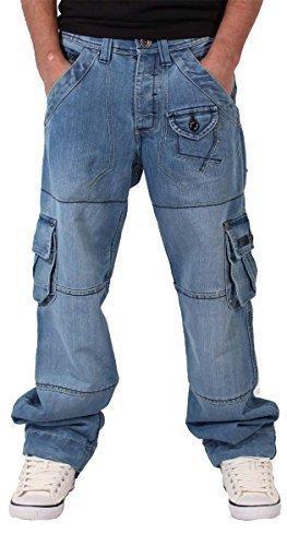 Peviani Uomini Ragazzi Stile Militare Denim Star Jeans Time Is Larga Hip Hop Money Urban Larghi - sintetico, Blu, 65% poliestere 35% cotone, Uomo, W30 X L33
