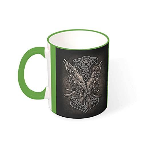 Taza de café Viking Hammer And Ravens de cerámica duradera personalizada a la moda - Taza de cerámica para la oficina para el aniversario verde 330ml