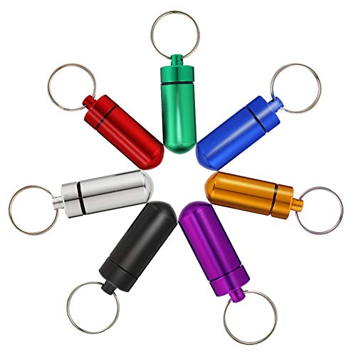 Rubywoo&chili 9 kleur pil doos sleutelhanger, waterdichte sleutelhanger pil doos, Mini aluminium sleutelhanger pil houder voor outdoor reizen camping