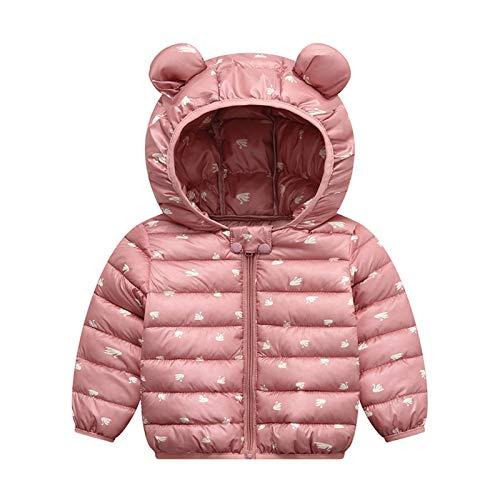 Bebé Chaqueta con Capucha Niños Niñas Invierno Abrigo Traje de Nieve Ligero Warmer Outfits Manga Larga Algodón Ropa Regalos Ropa 1-2 años Rosa