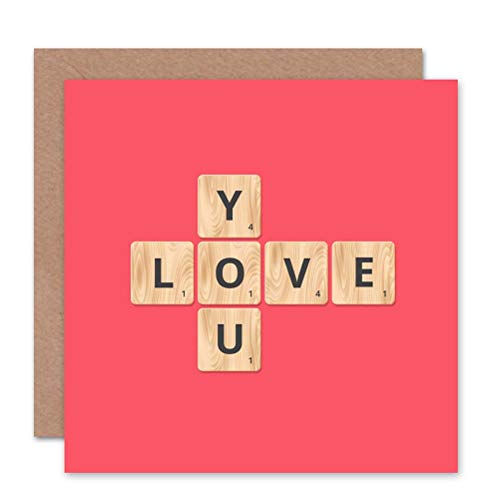 Wee Blue Coo Love You Scrabble Pattern - Valentines/Anniversary Sealed Greeting Card Plus Envelope Blank Inside Liebe Muster