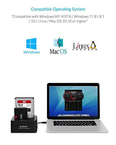 ORICO USB 3.0 zu SATA Offline Klon Festplatten Dockingstation, Dualschacht Festplattengehäuse für 2,5 und 3,5 Zoll SATA HDD/SSD bis zu 2X 12TB mit 12V 3A Netzteil (Werkzeugfrei)