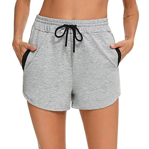 Akalnny Pantaloncini Donna Sportivi Cotone Pantaloni Pigiama Corti Donna da Casa Casual Shorts Estivi per Sport Casual Yoga Jogger Fitness Pigiama Grigio XL