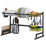 Newox Utensilios de Cocina Mostrador de Almacenamiento de Acero Inoxidable Mostrador de Ahorro de Espacio Soporte Organizador Negro(34,3 * 12,6 * 17,3 pouces)