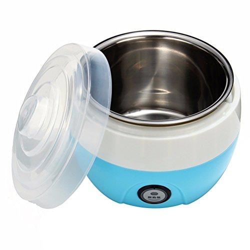 OUNONA 1L Automatic Yogurt Maker - Electronic Stainless Steel Tank Home Yogurt Making Machine with Plug (Blue,220V)