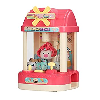 ForBEST Claw Machine Magical Claw Machine Mini Claw Machine with 6 Dolls 10 Capsules USB Cable Best Gift for Kids  Pink