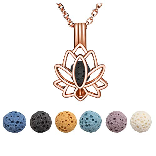 JOVIVI Rose Gold Lotus Flower Lava Stones Aromatherapy Diffuser Necklace Essential Oil Diffuser Locket Pendant Jewelry set for Women with 6 PCS Lava Rocks,24' Lobster Chain