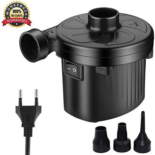 KERUITA Elektrische Pumpe Quick-Fill-Luftpumpe für Inflatables Airbed Pump-Pool-Spielzeug Schwimmerpumpe 220 V AC/DC 12V Schwarz (ACDC) (AC)