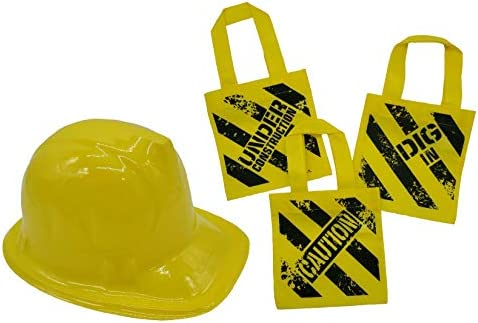 Construction Birthday Party Supplies Mini Tote Bag Yellow Plastic Construction Hat 24 piece product image