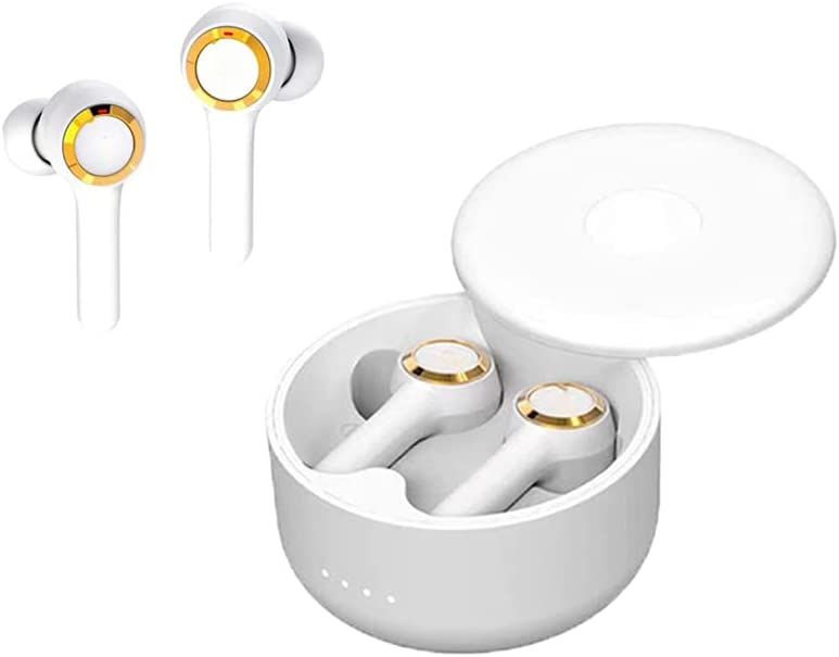 Wireless Headset Bluetooth 5.0 Noise Reduction IPX5 Waterproof Headset Sliding Cover Portable Charging Box can Automatically Pair with Built-in Microphone, Suitable for Sports Gym Work (White-2)