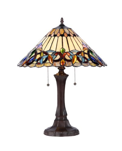 Ambrose Tiffany-Style Victorian 2-Light Table Lamp