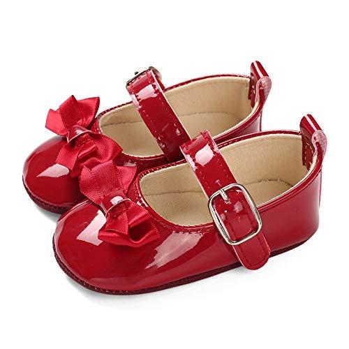 LACOFIA Baby Ballerinas Krabbelschuhe Kleinkind Mädchen rutschfest Bowknot Prinzessin Mary Jane Schuhe Rot 6-12 Monate