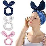 IYOU Diadema de spa con orejas de conejo para el pelo de las mujeres de forro polar coral para lavar la cara, toalla de baño, ducha
