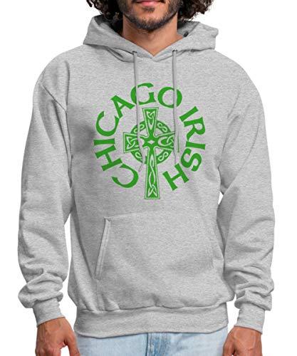 Chicago Irish Celtic Cross Men's Hoodie, S, heather gray