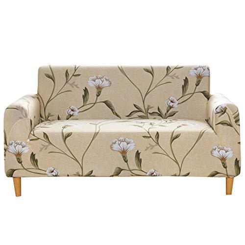 Funda Elástica de Sofá, Funda de sofá extraíble, elástica y Estampada con patrón de Flores, Ideal para decoración y Proteger tu sofá, 1, 2, 3 o 4 plazas, poliéster,C,90 to 140CM