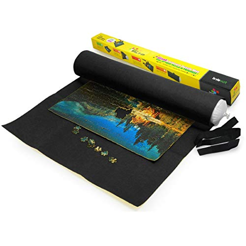 Lavievert Giant Big Felt Mat for Puzzle Storage Puzzle Saver, 3000-piece Jigsaw Puzzle Roll Mat, Long Box Package, No Folded Creases, Environmentally Friendly - Black