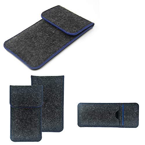 K-S-Trade Handy Schutz Hülle Kompatibel Mit Allview Soul X6 Xtreme Schutzhülle Handyhülle Filztasche Pouch Tasche Hülle Sleeve Filzhülle Dunkelgrau, Blauer Rand