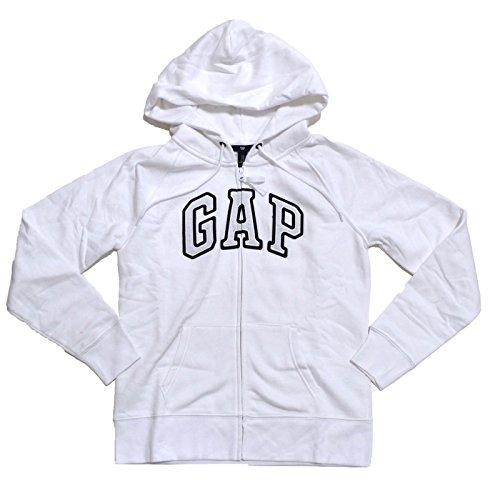 Moletom feminino com capuz e zíper com logotipo em arco de lã GAP, Branco, Small