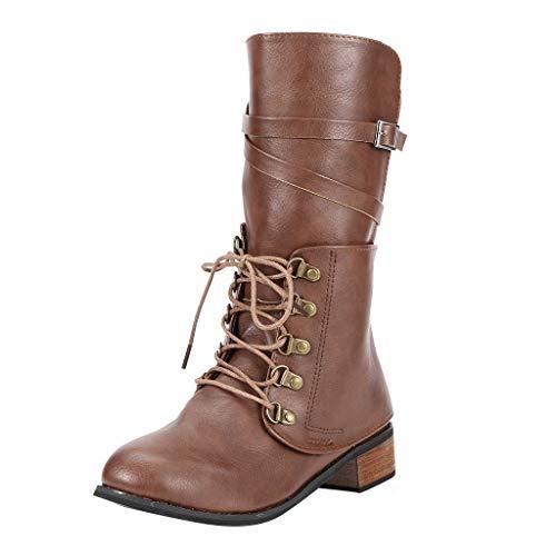 Posional Botas Retro Mujer Navidad Vintage Zapatos Planos de Cuero con Cremallera y Punta Redonda para Ladies Botas Nuevas con Soporte de Arco Piel Impermeable de la Nieve del Invierno