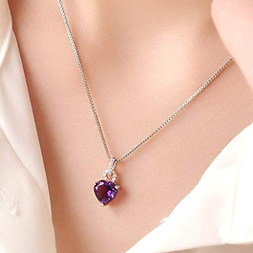 Luck Pendant Chain Necklace Natural Amethyst Pendant Necklace Pendant With 925 Silver Chain Heart Pendant Clavicle Chain Accessories For Women Christmas Jewelry Gifts Embellished Necklace for Women ho
