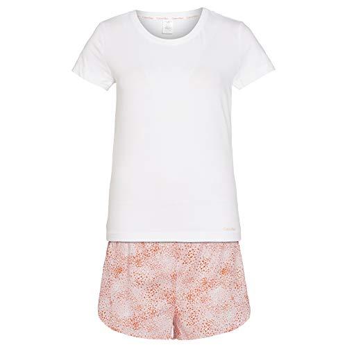 Calvin Klein Damen S/s Short Set Zweiteiliger Schlafanzug, Weiß (Splatter Print SPN), Small