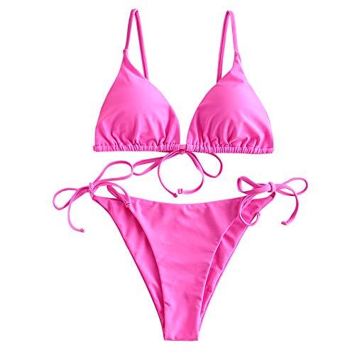 ZAFUL Women's Whip Stitch Textured String Triangle Bikini Set Two Piece Swimsuit (Solid-Hot Pink, M)