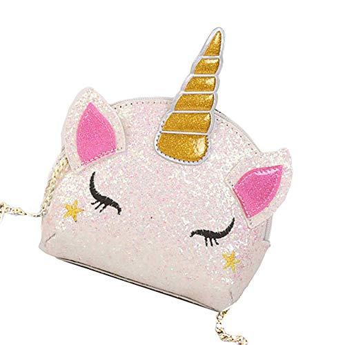 YUIP Handtasche Umhängetasche Einhorn Cartoon Tasche, Einhorn Crossbody,Geschenk für Mädchen Schultertasche,Mädche Kindertasche,Reißverschluss für Mädchen Teens Frauen