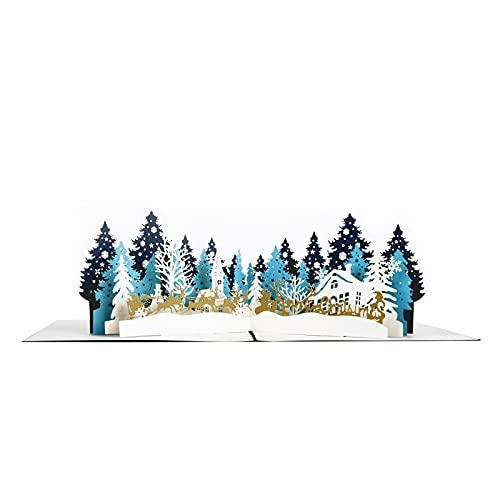 Innbox Tarjeta de felicitación 3D Pop Up con diseño de bosque de Navidad, tarjeta de Navidad con sobre, tarjeta de Navidad para invitación de fiesta, tarjeta de regalo DEXIGC-008