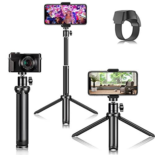 Trípode para Teléfono Móvil con Liberación Remota, Trípode para Selfie Stick con Anillo Control Remoto Bluetooth Trípode Portátil para Cámara de Teléfono Inteligente Soporte para Trípode de Te