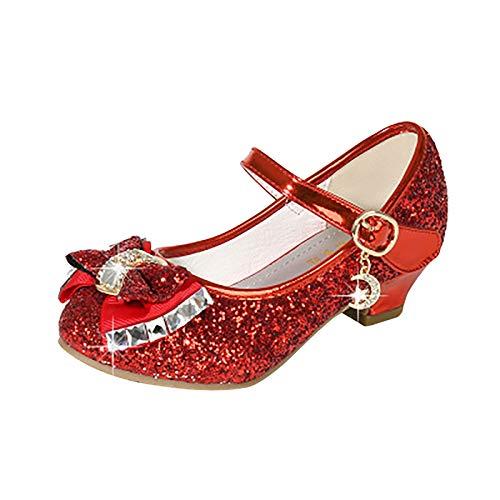 Mädchen Prinzessin Schuhe mit Absatz High Heel Schuhe Kinder Party Pumps Ballerina Schuhe Pailletten Festlich Herzchen Sandalen Partei Glitzer Pumps Karneval Verkleidung Fashing Kostüm (Rot, 33)