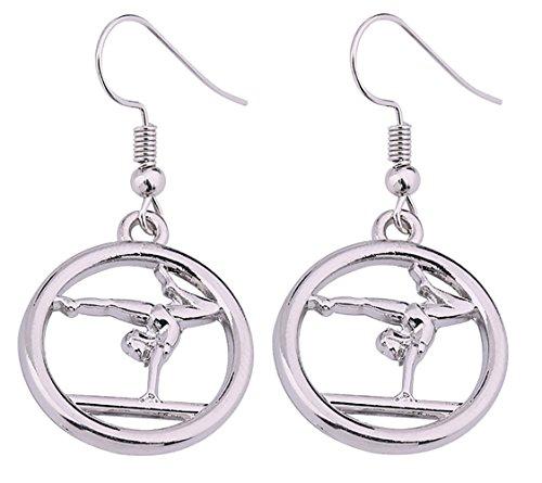 Boucles d'oreilles Lemegeton, à pendentif circulaire avec en motif un gymnaste - Boucles sportives pour femme