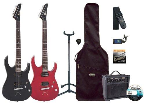 Encore EBP-E89TRD - Kit de guitarra eléctrica (pastillas humbucker, puente tune-o-matic, tilo macizo), color rojo