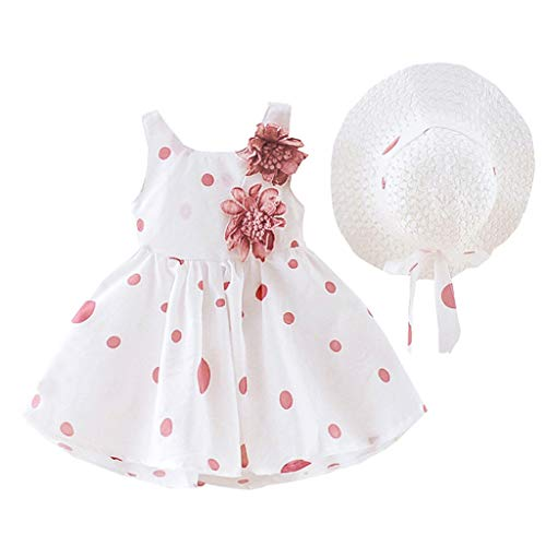 WOCACHI Toddler Baby Girls Floral Ruched Strap Bowknot Princess Dress Casual Clothes with Hat Plaid Polka Dot Cherry Watermelon 2020 Summer Deals Under 5 Dollars Bargain Sundress