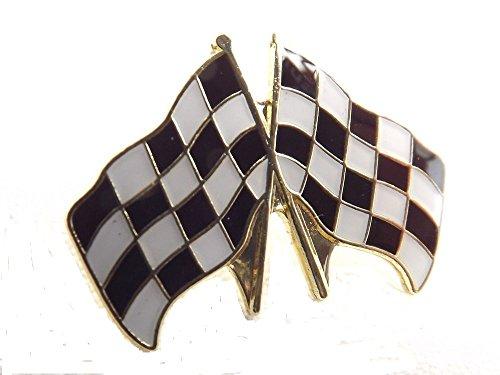Metall-Emaille-Brosche Rennfahrer gekreuzte Flaggen (karierte Flagge) (25 mm)