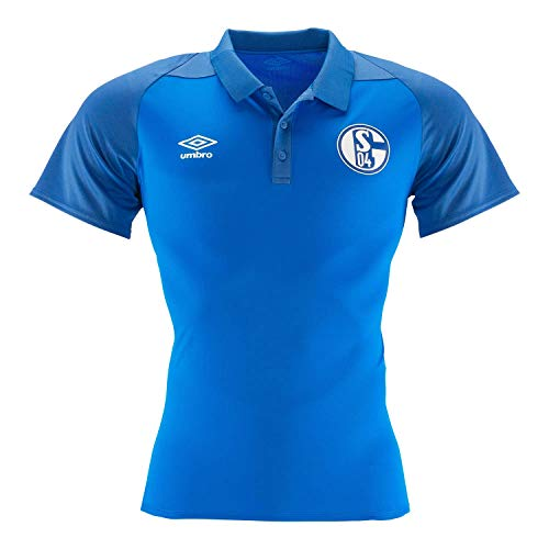 Umbro Herren Fußball FC Schalke 04 Polyester Polo Shirt S04 Trainingsshirt blau dunkelblau Gr L