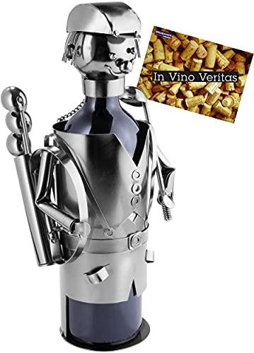 BRUBAKER Weinflaschenhalter Golfspieler mit Tasche - Golf Flaschenständer Deko-Objekt aus Metall - Flaschenhalter Golfer mit Grußkarte für Weingeschenk