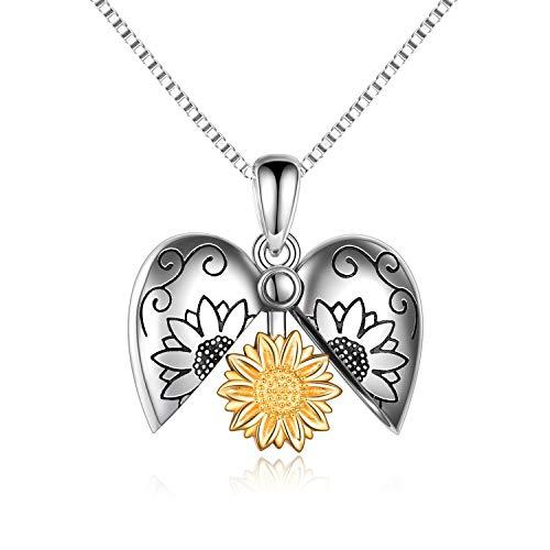 Collar con medallón de girasol de plata esterlina You are My Sunshine, collares con colgantes grabados, joyería para mujer