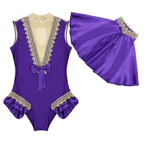Agoky Damen Prinzessin Kostüm Set Body mit Umhang Festzug Cosplay Outfits für Showman Drama Musicals Party Weihnachten Halloween Violett Large