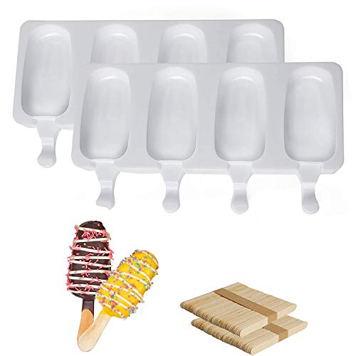 2 paquetes de moldes para helado, moldes para helado de silicona sin BPA, moldes para helado reutilizables para niños y adultos (con 100 palitos de helado).