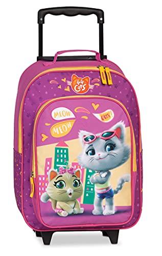 Fabrizio Kids 44 Cats - Maleta con ruedas (2 ruedas, 42 cm, 28 L), color fucsia