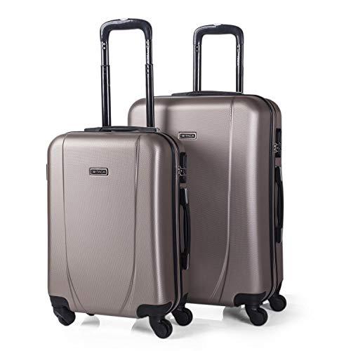 ITACA - Juego de Maletas de Viaje Ligeras 2 Pzs. Set Trolley ABS 4 Ruedas (Cabina + Mediana) Rígidas yResistentes. Conjunto Equipaje Avión. 71115, Color Champagne